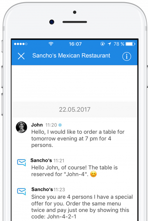 Order a table or message the customer service with thismo messenger app
