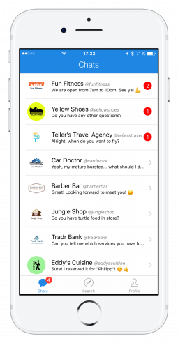 Message different businesses with thismo messenger app