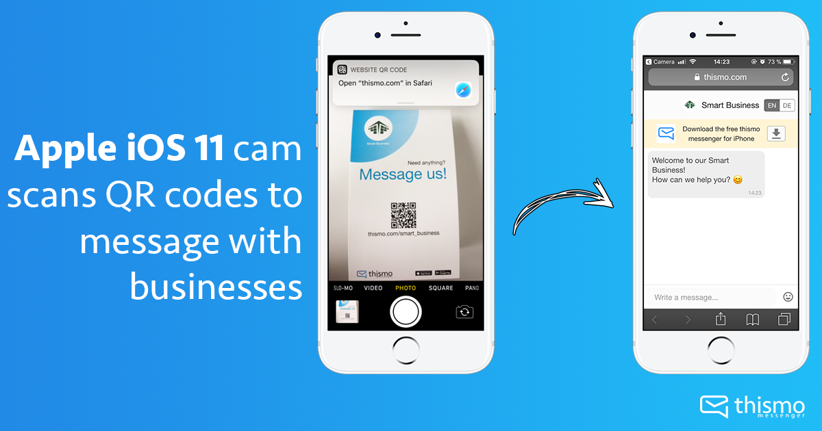 thismo messenger blog: Apple iOS11 cam scans QR codes to message with businesses