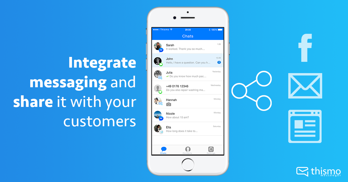 Here are different ways to let your customers know you're using thismo messenger for customer communication.